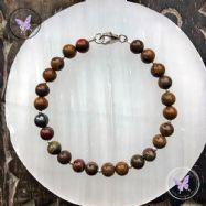 Tiger Iron & Silver Bead Bracelet